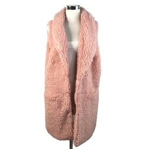 Betsey Johnson Pink Faux Sheerling Open Front Vest